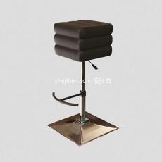 黑色方形吧凳3d模型下载