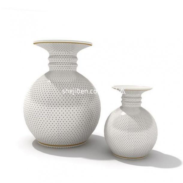 黑点形陶瓷收藏品3d模型下载