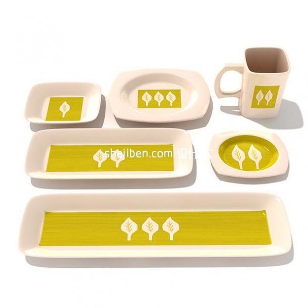 树型图案茶碟3d模型下载