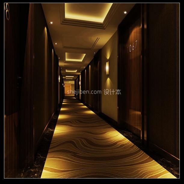 酒店宾馆过道3d模型库免费下载