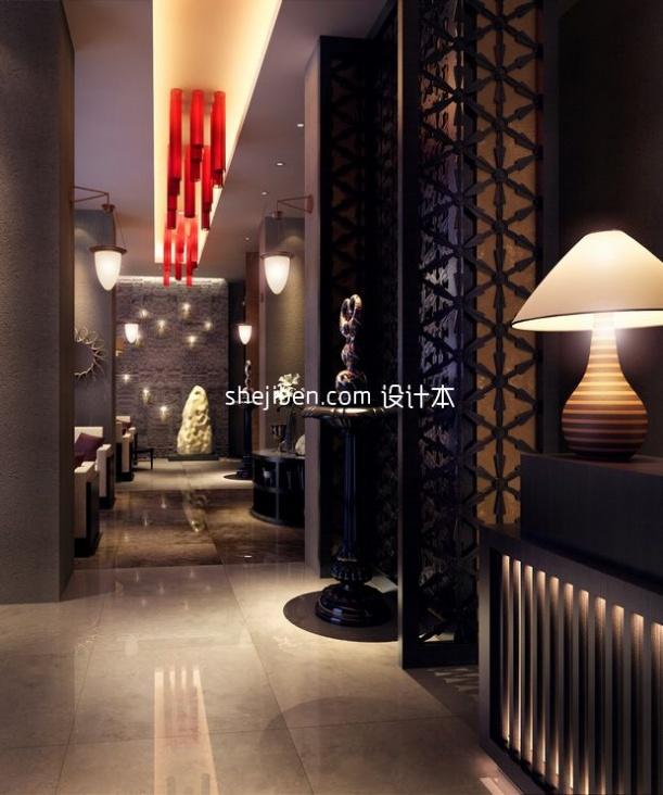 中式酒店过道3d模型免费下载