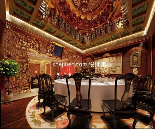 豪华奢侈中式餐饮3d模型设计