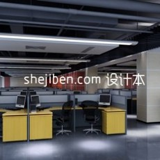 黑白相间室内办公室场景3d模型下载