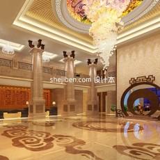 中式酒店大型水晶灯大堂3d模型下载