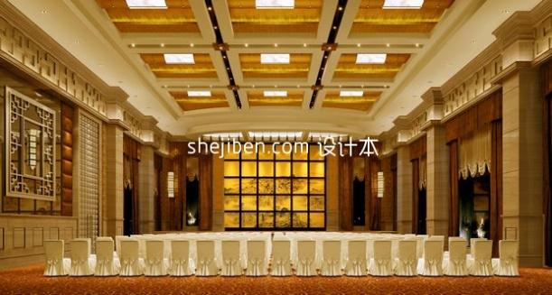 现代中式豪华餐厅3d模型免费下载