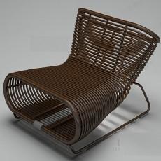 深色藤椅3d模型下载