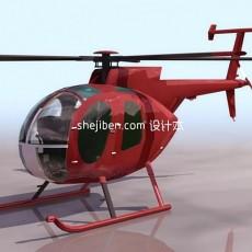 飞机-红色直升机3d模型下载