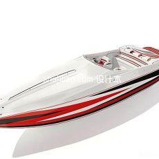 游艇轮船-时尚精美摩托艇3d模型下载