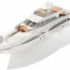 白色游艇轮船3d模型下载