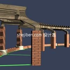 景观花架3d模型下载