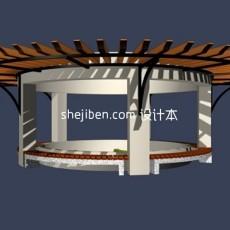 休闲弧形花架3d模型下载