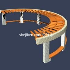 公园花架3d模型下载