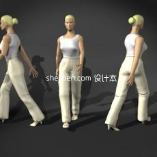 白衣女性max人体3d模型下载