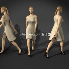 白色连衣裙中年女性人体3d模型下载