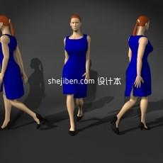 蓝衣普通女性人体3d模型下载