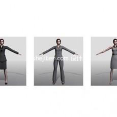 职场女性人体3d模型下载