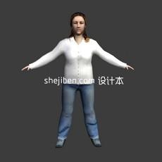 普通中年女性形象人体3d模型下载