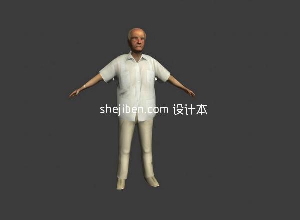 生活中普通老年男性3d人体模型下载