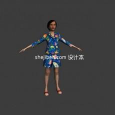 普通老年女性形象人体3d模型下载