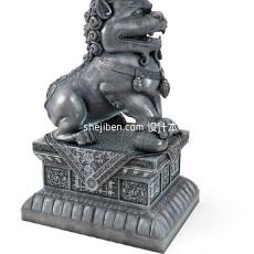 石雕狮子3d模型下载