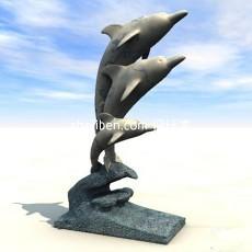 海豚雕塑3d模型下载