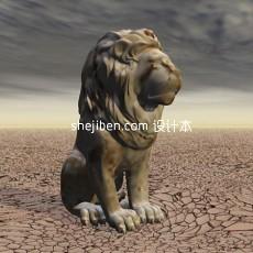 石狮子雕塑3d模型下载