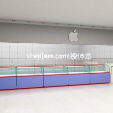 苹果手机专卖店展台3d模型下载