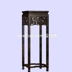 中式花架3d模型下载