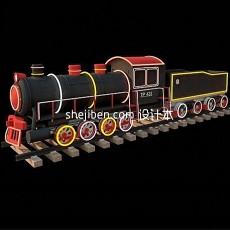 火车场景3d模型下载