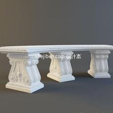 欧洲石凳子雕塑3d模型下载