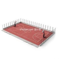 篮球场地3d模型下载