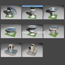 喷泉3d模型下载