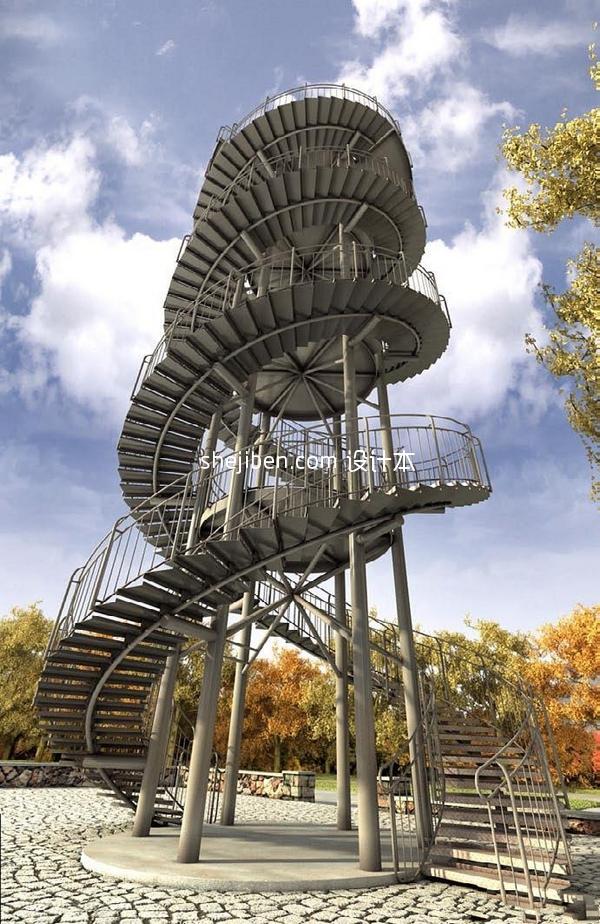 室外旋转楼梯模型下载