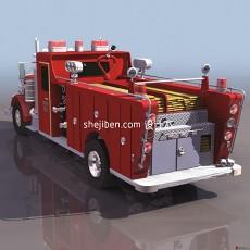 红色消防车3d模型下载