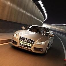 白色款奥迪车3d模型下载