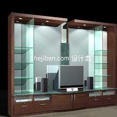 实木玻璃电视柜3d模型下载