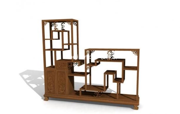 博古架模型-玄关厅柜装饰柜