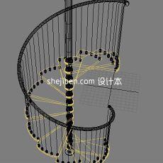 别墅跃层楼梯3d模型下载