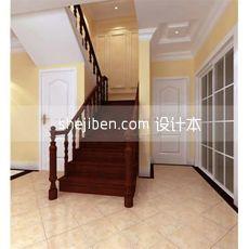 中式实木楼梯扶手3d模型下载