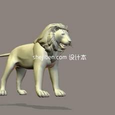 石狮子-动物3d模型下载