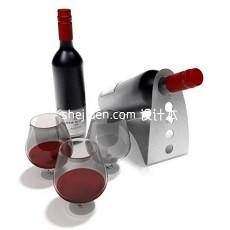 红酒酒架和玻璃高脚酒杯3d模型下载