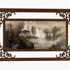 中式镂空雕花挂画3d模型下载
