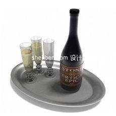 托盘红酒酒杯3d模型下载
