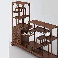 中式博古架装饰柜3d模型下载