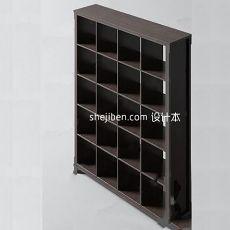 灰色现代博古架展示柜3d模型下载