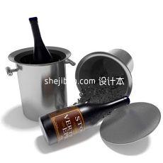 酒桶_红酒冷藏桶3d模型下载