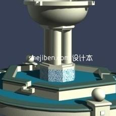 欧式喷泉水池3d模型下载