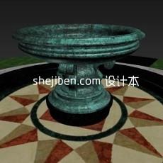 欧式青铜喷泉3d模型下载