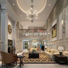 复式楼欧式客厅3d模型下载