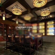 中式饭店3d模型下载